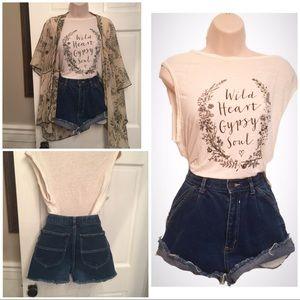 Pants - Vintage high waist  cutoff denim shorts dark rinse